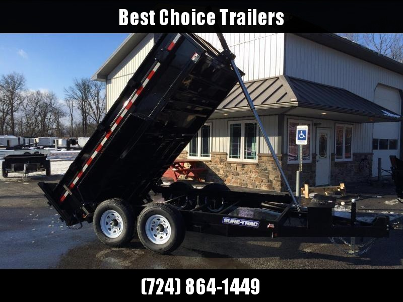 2018 Sure-Trac 7x12' LowPro Dump Trailer 12000# GVW - TELESCOPIC HOIST ** FREE ALUMINUM WHEELS