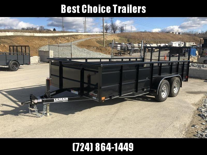 2018 Lamar 7x16' Utility Trailer 7000# GVW * 2' STEEL HIGH SIDES *  PIPE TOP * ADJUSTABLE COUPLER * DROP LEG JACK * TIE DOWN RAIL * CHARCOAL * TUBE GATE