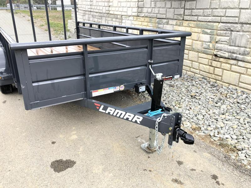 2018 Lamar 7x16' Utility Trailer 7000# GVW * 2' STEEL HIGH SIDES *  PIPE TOP * ADJUSTABLE COUPLER * DROP LEG JACK * TIE DOWN RAIL * CHARCOAL * TUBE GATE * CLEARANCE - FREE SPARE TIRE & MOUNT