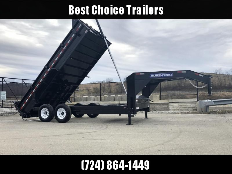 2019 Sure-Trac 7x16' 16000# Low Profile HD GOOSENECK Dump Trailer * TELESCOPIC HOIST * 8000# AXLE UPGRADE