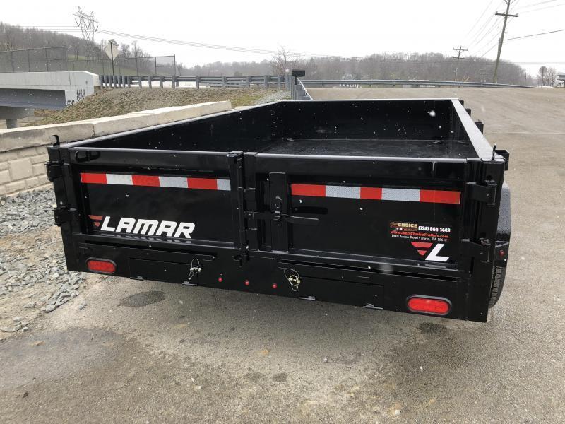 2018 Lamar 77x12' DM LowPro Dump Trailer 9990# - STANDARD * RAMPS  * SPARE MT * CHARCOAL * TARP KIT * CLEARANCE - FREE ALUMINUM WHEELS