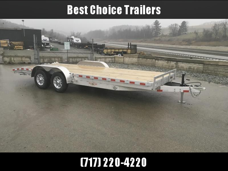 """2018 H&H 7x20' 9990# Low Profile Aluminum Car Hauler * HEAVY DUTY * TORSION AXLES * 8"""" FRAME * SWIVEL D-RINGS * EXTRUDED BEAVERTAIL * EXTRA STAKE POCKETS * CLEARANCE"""