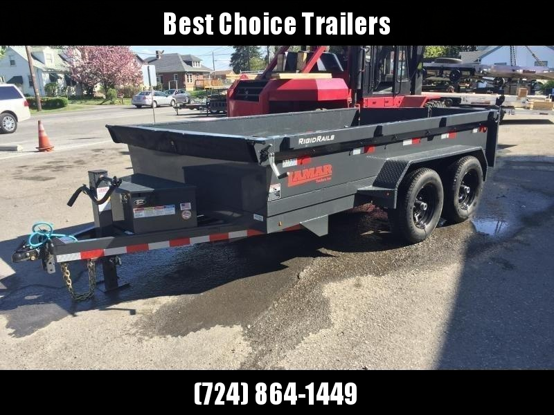 2018 Lamar DM 77x12' 9990# Low Profile Dump Trailer * 12K JACK * TARP KIT * ADJUSTABLE COUPLER * CHARCOAL * SCISSOR * SPREADER GATE