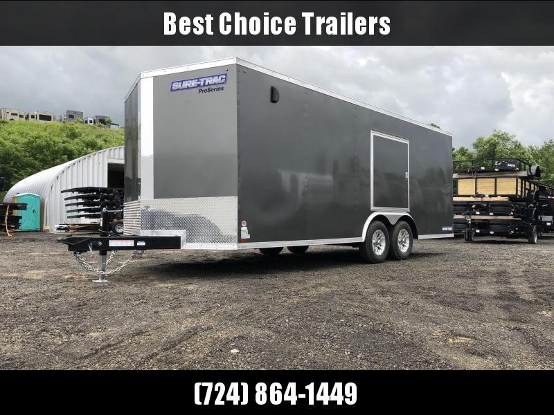 "2019 Sure-Trac 8.5x20' Enclosed Car Trailer 9900# GVW * DELUXE * CHARCOAL * 7K JACK * ESCAPE HATCH * FINISHED WALLS * NUDO FLOOR & RAMP * TORSION * 48"" DOOR & MORE"