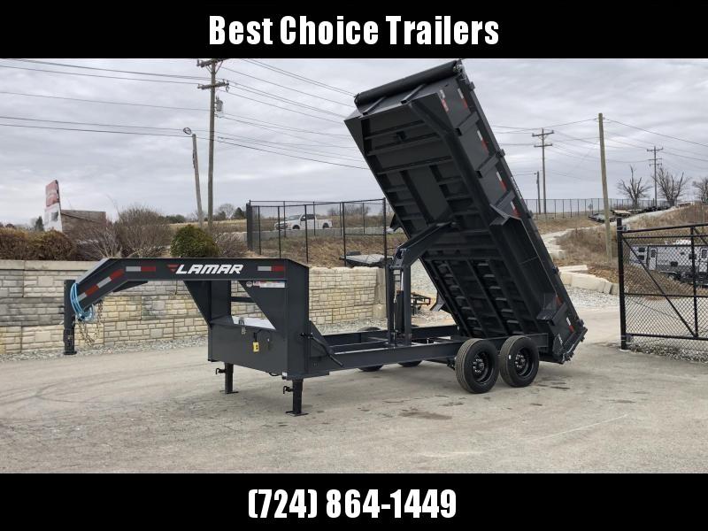 2019 Lamar 7x16' Gooseneck Dump Trailer 16000# GVW * 8000# AXLE UPGRADE * 17.5 RUBBER * OVERSIZE 6x21.5 SCISSOR in Ashburn, VA