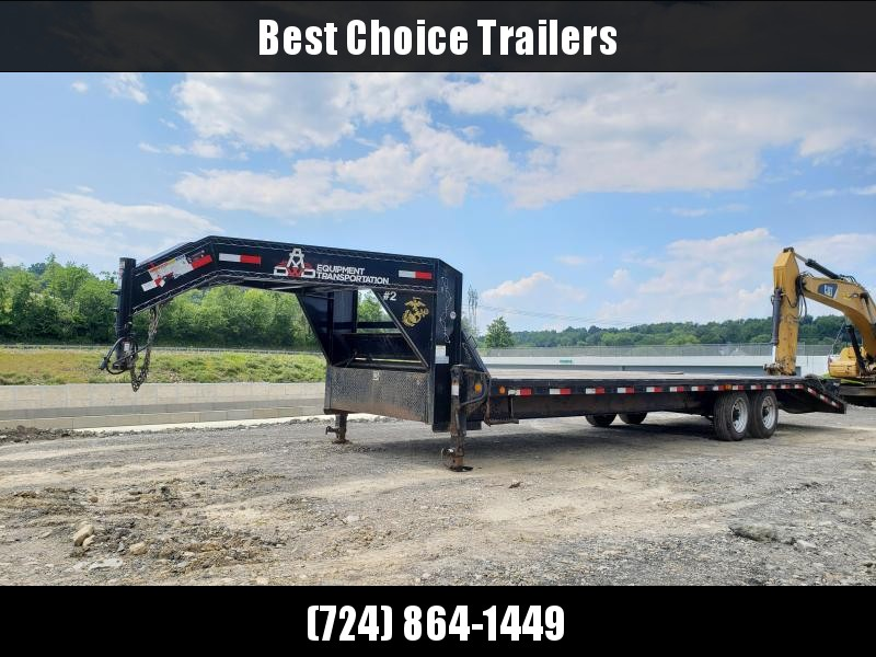 USED 2018 PJ 102x25+5 16000# Gooseneck Beavertail Deckover Trailer * FULL WIDTH RAMPS * 30' LENGTH * DEXTER 8000# AXLES * DUAL JACKS/FRONT TOOLBOX