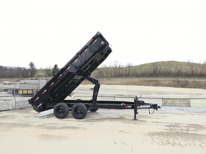 "2019 Lamar 7x16' Gooseneck Dump Trailer 16000# GVW * 8000# AXLE UPGRADE * 17.5"" RUBBER & SPARE * 7 GAUGE FLOOR * HD SCISSOR * TARP KIT * DUAL JACKS * I-BEAM FRAME * CHARCOAL * VOLTAGE METER * REAR JACK STANDS"