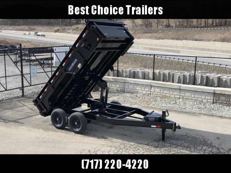"2019 Load Trail 7x14' Dump Trailer 14000# GVW * DT8314072 * 12K JACK * 2' SIDES * 3-WAY GATE * 8"" I-BEAM FRAME * TARP KIT * SCISSOR HOIST * 6"" TUBE BED FRAME * 110V CHARGER * DEXTER'S * 2-3-2 * POWDER PRIMER"