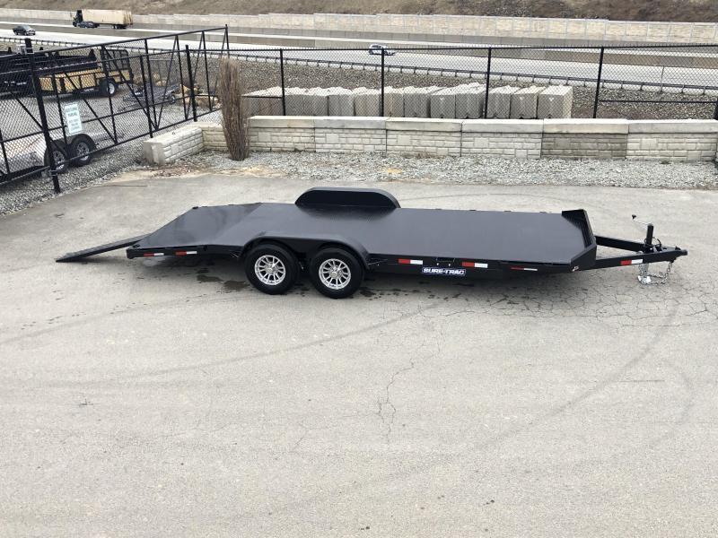 2019 Sure-Trac 7x18' Steel Deck Car Hauler 7000# GVW * 4' BEAVERTAIL - LOW LOAD ANGLE * ALUMINUM WHEELS
