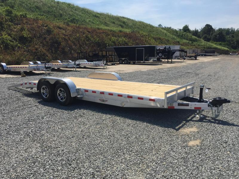 "2018 H&H 7x20' 9990# Low Profile Aluminum Car Hauler * HEAVY DUTY 8"" FRAME * EXTRUDED BEAVERTAIL * CLEARANCE + FREE ALUMINUM SPARE"