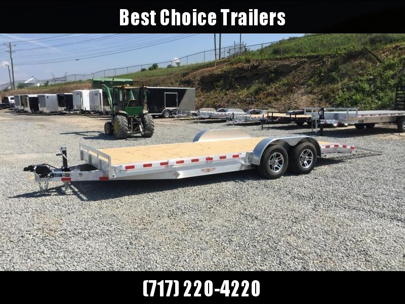 "2018 H&H 7x20' 9990# Low Profile Aluminum Car Hauler * HEAVY DUTY 8"" FRAME * EXTRUDED BEAVERTAIL * CLEARANCE - FREE SPARE"