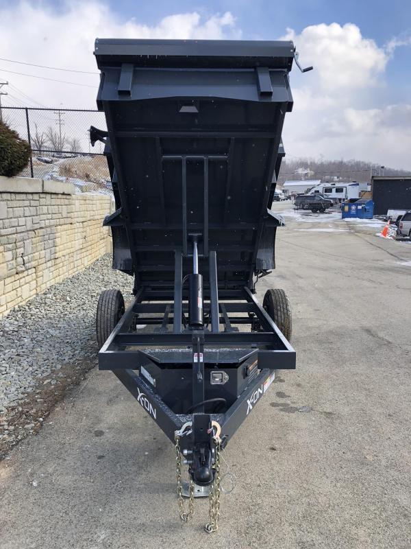 2019 X-on 5X10' Low Profile Dump Trailer 5000# GVW * TARP KIT * SCISSOR * 3 WAY GATE * 10 GA SIDES & FLOOR * 110V CHARGER * CAST COUPLER * DROP LEG JACK