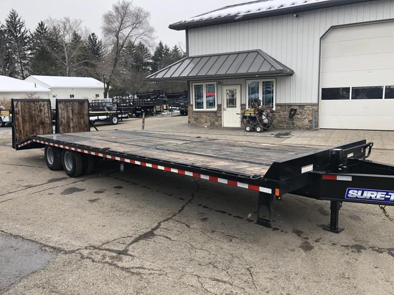 USED 2019 Sure-Trac 102x25+5 22K Pintle Beavertail Deckover Trailer Pierced Frame OAK DECK & RAMPS PAVER TRAILER  * OAK RAMPS/TAIL/DECK * FULL WIDTH RAMPS