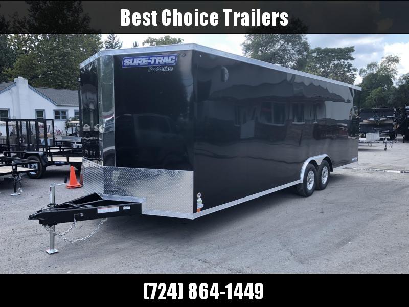 2019 Sure-Trac 8.5x24' 9900# STWCH Commercial Enclosed Cargo Trailer * V-NOSE * RAMP DOOR * BLACK *  ALUMINUM WHEELS