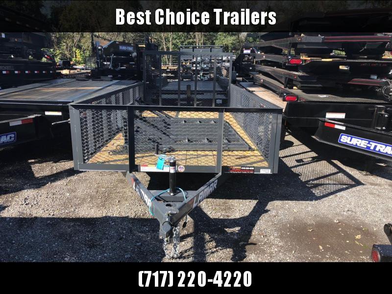 "2019 Lamar 77""x14' Mesh High Side Utility Trailer 2990# GVW * 2' MESH SIDES * CAST COUPLER * CHARCOAL * TUBE GATE"