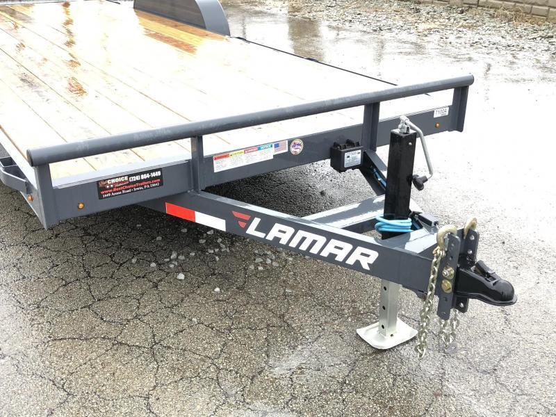 2019 Lamar 7X20' CC10 Car Trailer 9990# GVW RUBRAIL * REMOVABLE FENDERS  * CHARCOAL POWDERCOATING * 7K DROP LEG JACK