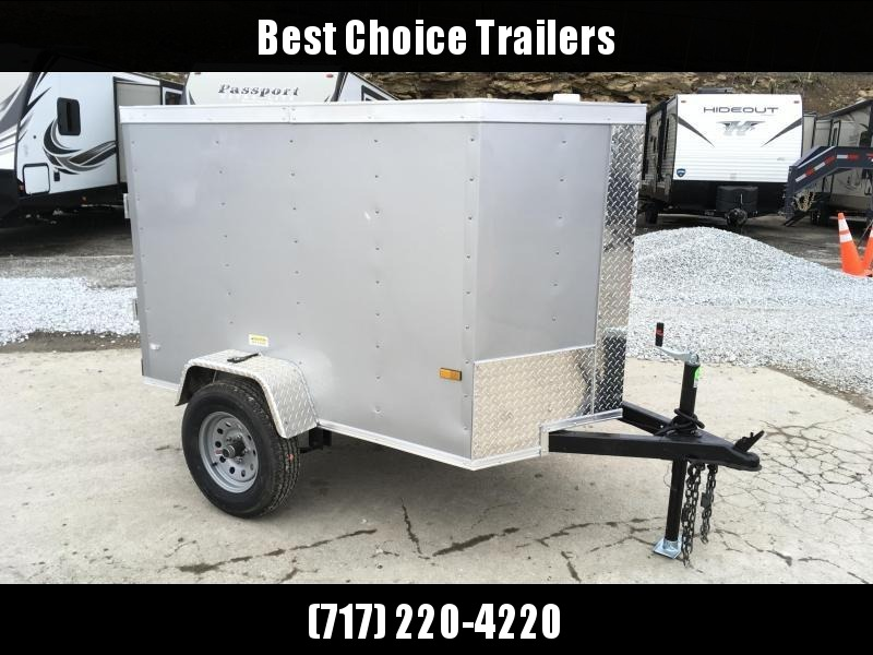 2019 Rock Solid 4x6' Enclosed Cargo Trailer 2000# GVW RS406SA * SILVER * SINGLE SWING DOOR * V-NOSE
