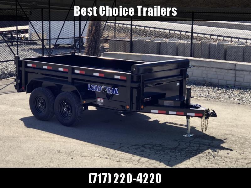 "2019 Load Trail 6x12' Dump Trailer 9990# GVW * DT7212052 * 2' SIDES * 2' SOLID SIDE EXTENSIONS * 3-WAY GATE * I-BEAM FRAME * TARP KIT * SCISSOR HOIST * 16"" RUBBER * 6"" TUBE BED FRAME * 110V CHARGER * DEXTER'S * 2-3-2 * POWDER PRIMER"