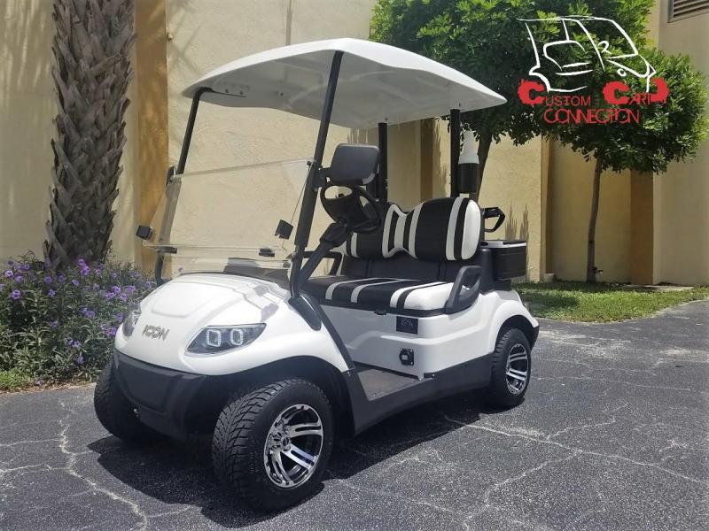 2019 ICON i20 White Golf Cart w/Golf Bag Attachment