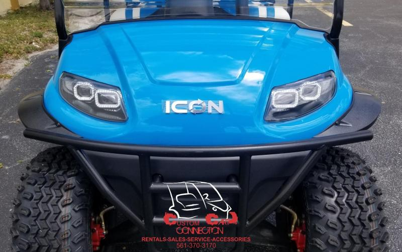 2019 ICON i60L Caribbean Blue Lifted 6 Passenger Golf Cart