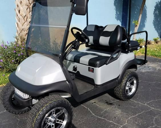 2015 GAS EFI ENGINE CLUB CAR PRECEDENT SILVER/BLACK LIFTED GOLF CART