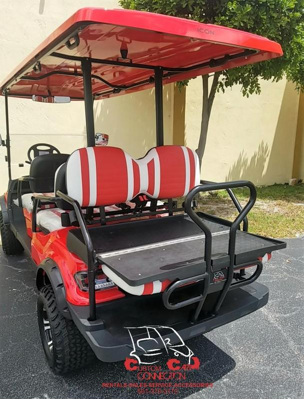 2019 ICON i40L Red Lifted Electric Vehicle Golf Cart