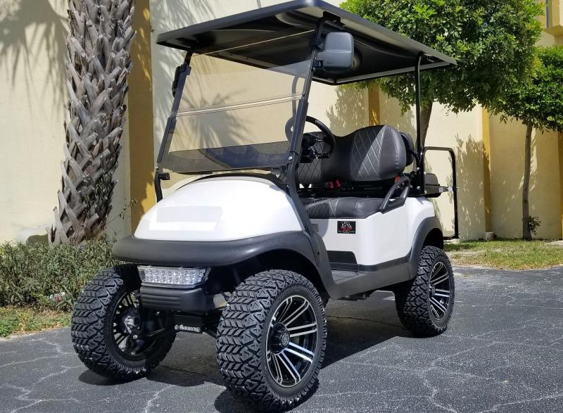 2018 Lifted Pearl White Club Car Precedent Gas Golf Cart