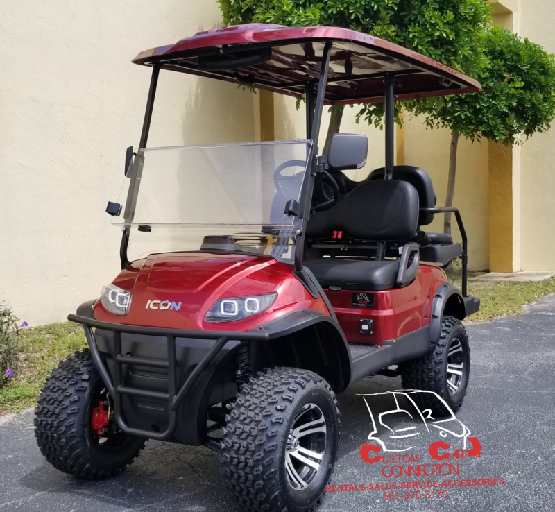 2019 ICON i40LSangria Red Lifted Golf Cart