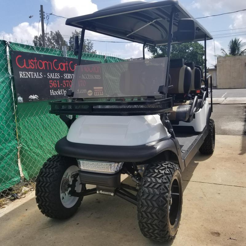 Custom 6 Passenger Lifted White/Black  Gas EFI Engine Club Car Precedent