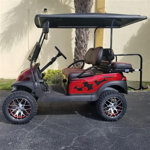 "RED & BLACK AIRBRUSHED Club Car Precedent Golf Cart with 6"" A-ARM LIFT - High Speed Code 20 MPH"