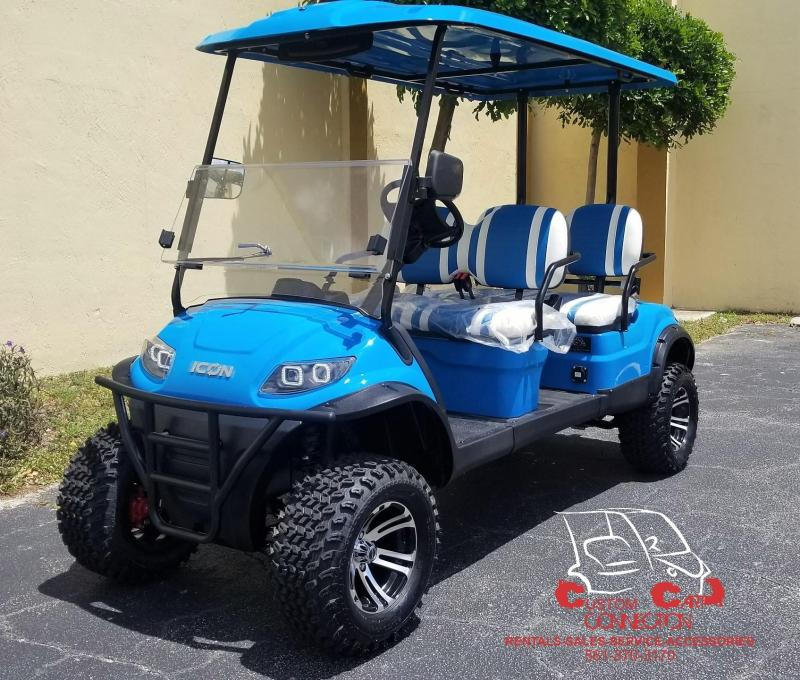 2019 ICON i40FL Caribbean Blue Lifted Golf Cart 25+mph
