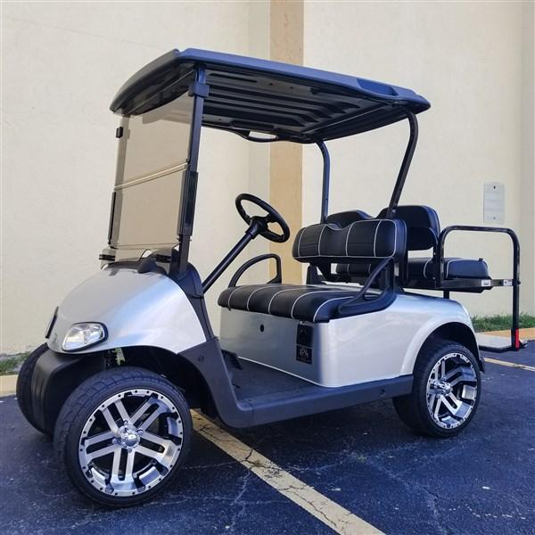 2014 PLATNIUM SILVER EZGO RXV GOLF CART 23 MPH 14″ RIMS NEW BATTERIES