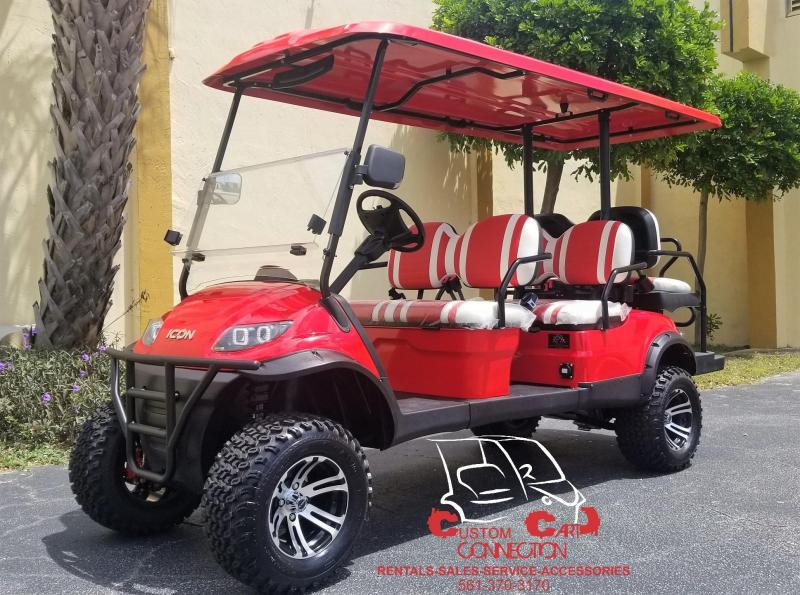 2019 ICON i60L Red Lifted 6 Passenger Golf Cart
