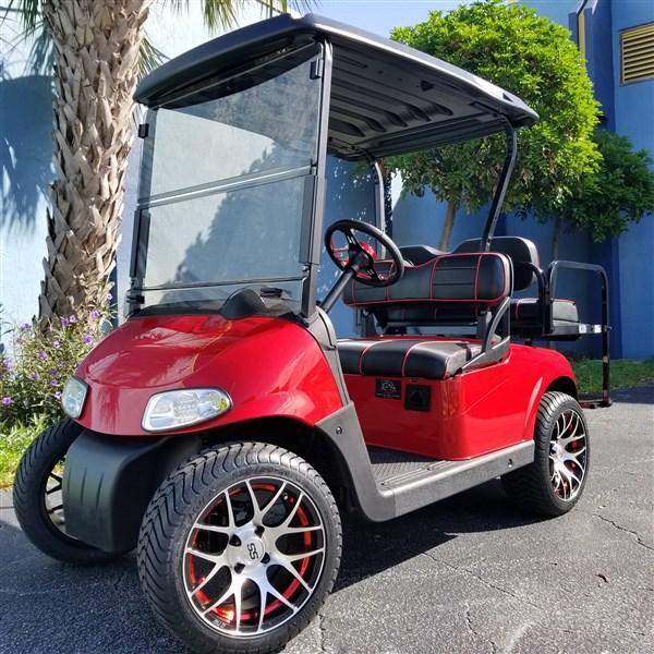 CUSTOM RED AND BLACK E-Z-GO RXV With high Speed Code 23 MPH