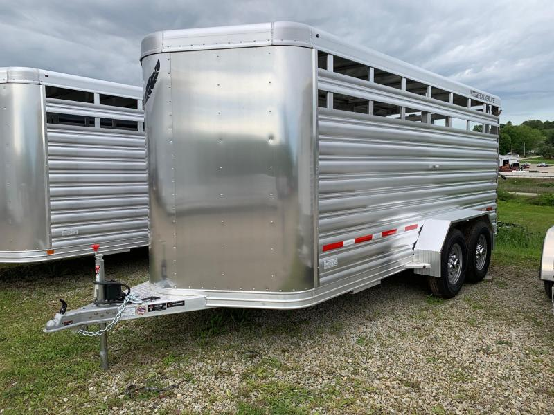 NEW 2019 Featherlite 16' HD Bumper Pull Aluminum Stock Trailer w/ Centergate with Slider