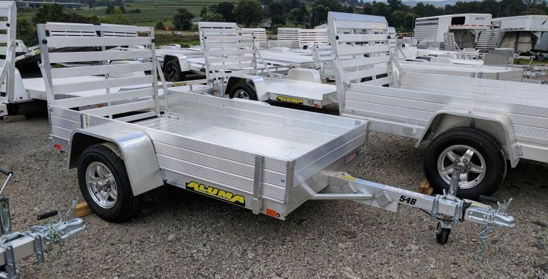 """NEW 2019 Aluma 4'6"""" x 8'  Utility Trailer with 12"""" Solid Side Rack Kit"""