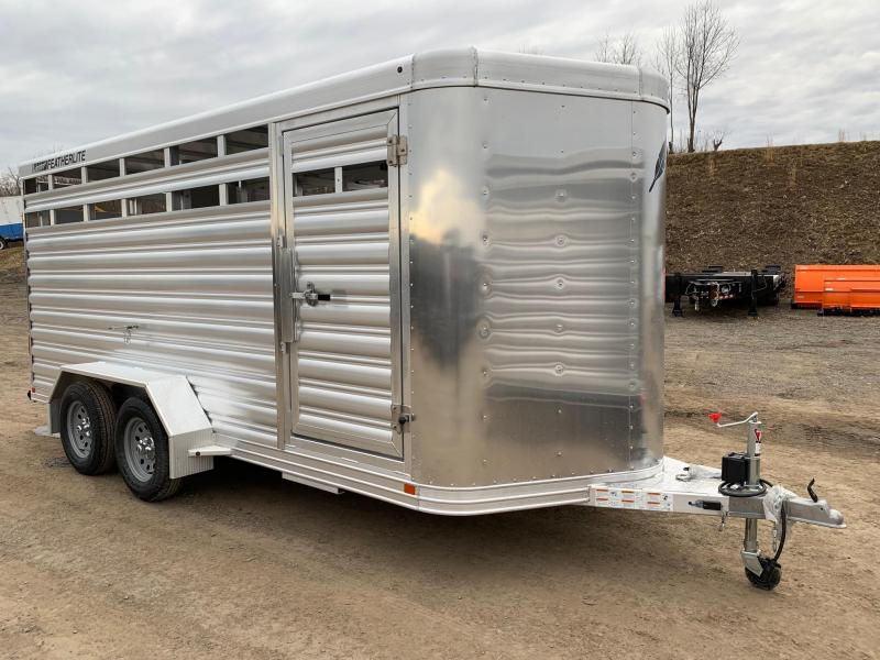 NEW 2019 FEATHERLITE 16'  Bumper Pull Aluminum Stock Trailer