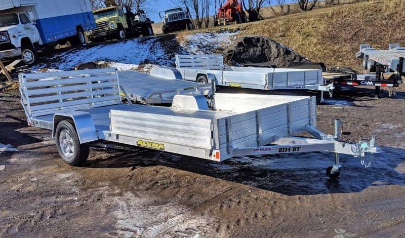 """NEW 2019 Aluma 6'9"""" X 14 Utility Trailer w/ Side Ramps & Bi-Fold Gate"""