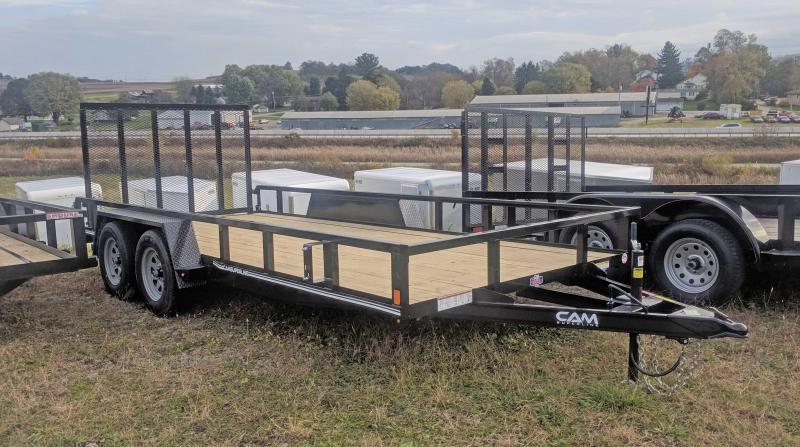 NEW 2019 Cam 7x16 Tandem Utility Trailer w/Spring Assist Lay Flat Gate