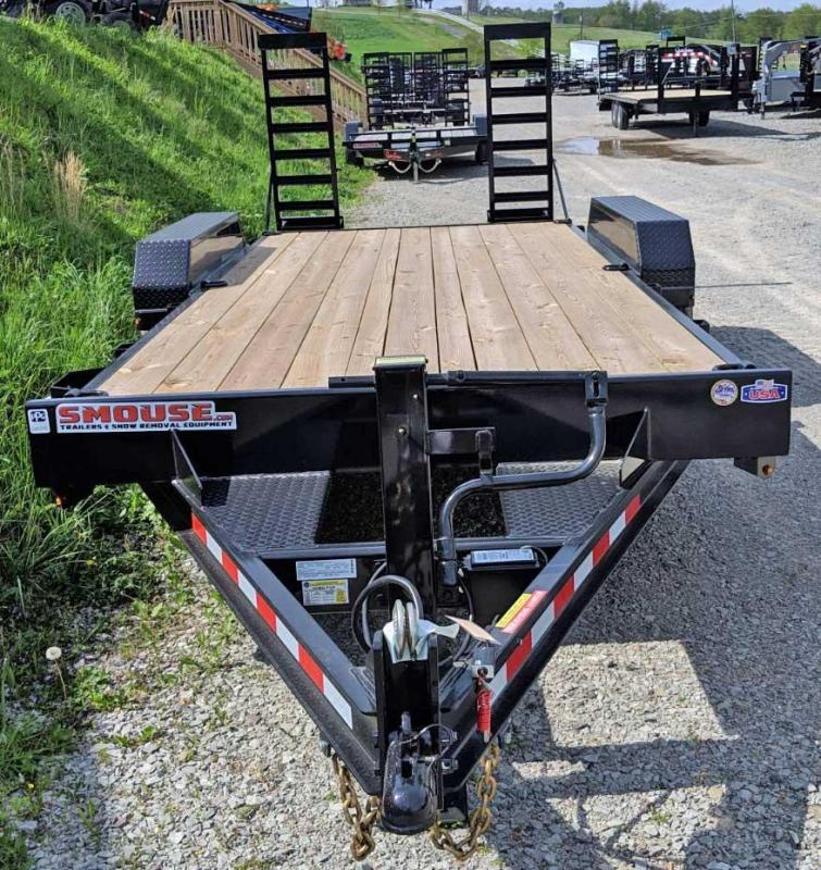 NEW 2019 CAM 18' HD Lo Pro Equipment Hauler w/ 2' Self Cleaning Beavertail & Stand Up Ramps