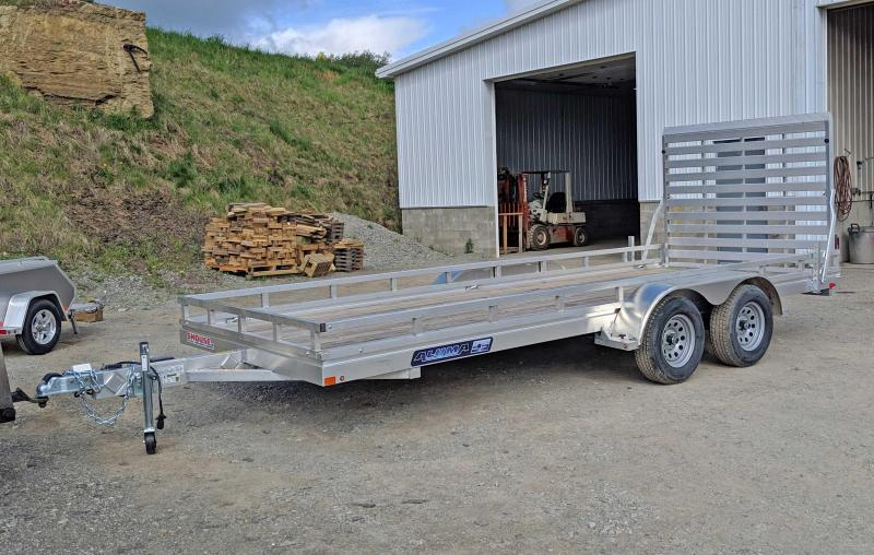 "NEW 2019 Aluma 6'6"" X 18 EDGE Series Tandem Utility Trailer w/ Wood Deck"