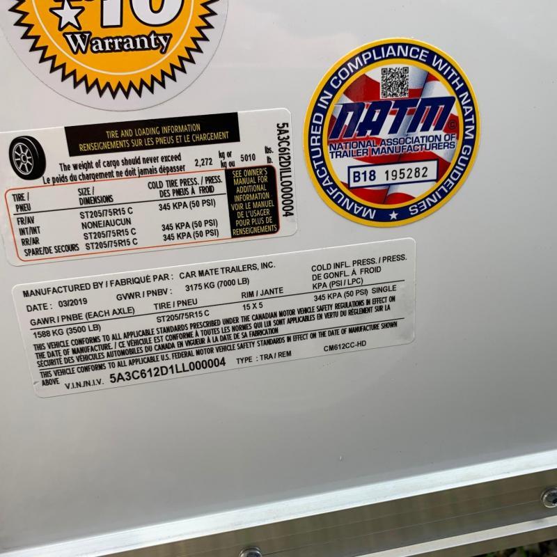 "NEW 2020 Car Mate 6x12 Custom Cargo HD Trailer w/ Ramp Door (6"" Add'l Height)"