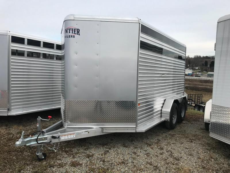 NEW 2019 Frontier 7x14 Aluminum Stock Trailer-7'High