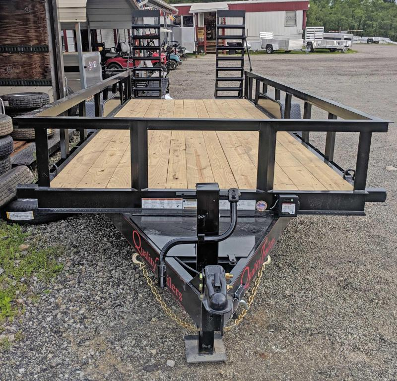 NEW 2019 Quality 18' PRO Equipment Trailer w/ Top Rail & Spring Assist Stand Up Ramps ( OR 9990#GVW)