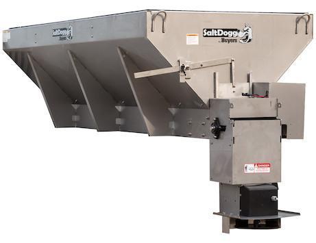 NEW Saltdogg 2.5 Cu Yd Electric Stainless Steel Mid-Size Hopper Spreader w/ Conveyor Chain & Std Chute