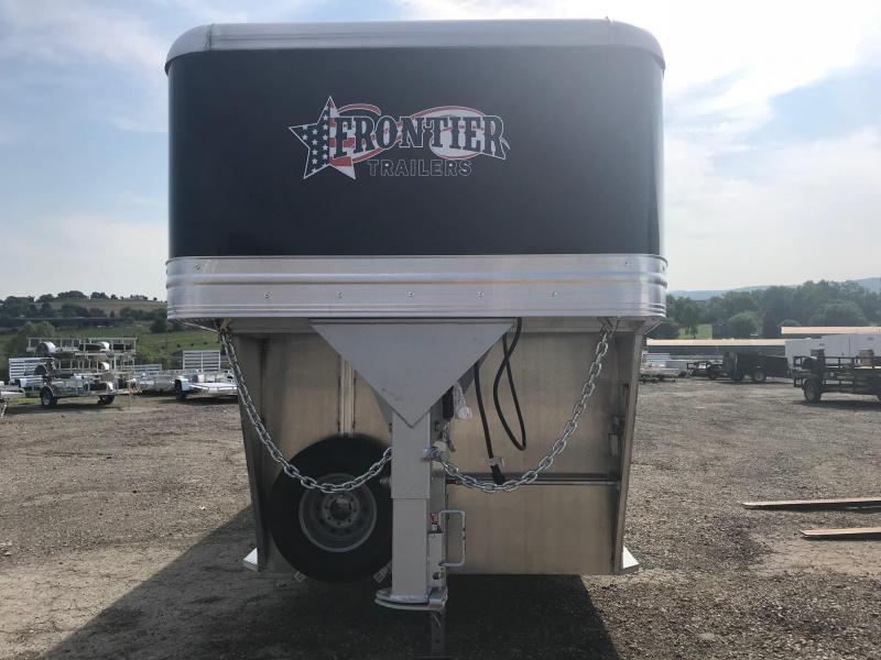 2018 Frontier 24' Aluminum Gooseneck Livestock Trailer w/ (2) Centergates w/ Sliders