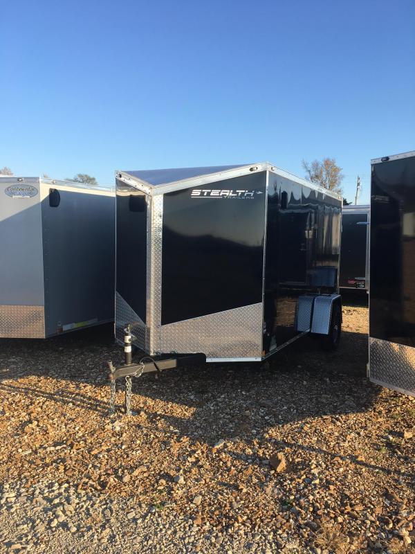 2018 Stealth Trailers 6 x 12 Titan SE Enclosed Cargo Trailer Side Door Ramp Door Black