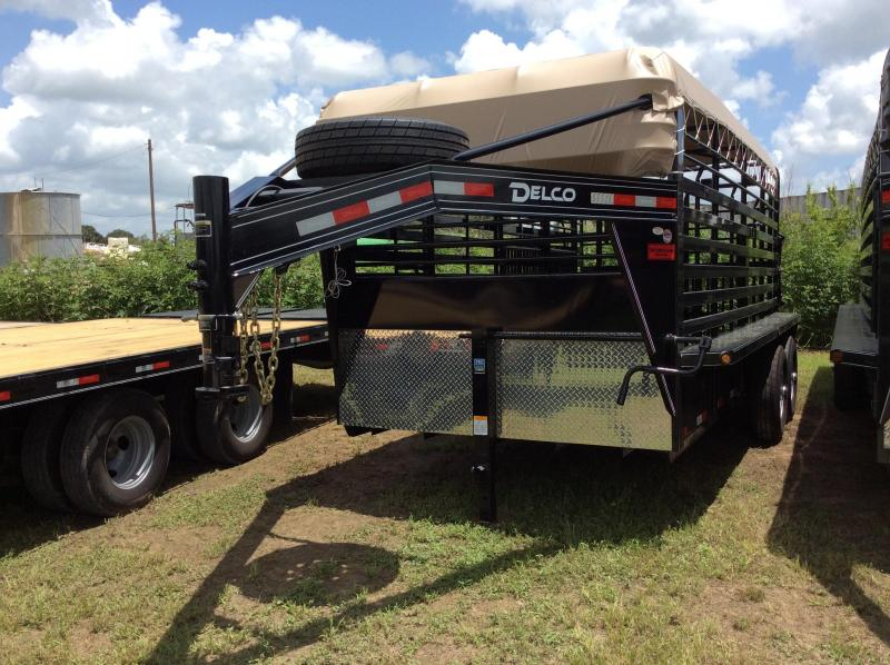 2018 Delco Trailers 6 8 X 16 Gooseneck Bar Top Livestock Trailer