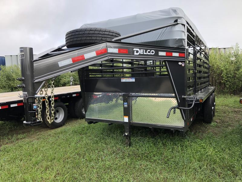 2019 Delco Trailers 6 8 X 16 Gooseneck Bar Top Livestock Trailer