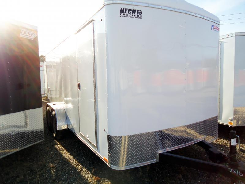 "2019 Pace American 7X16 OBDLX TE2 6""X RAMP SVNTS DRNG WHITE Enclosed Cargo Trailer"